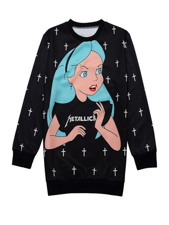 online Long Sleeve Character Print Sweatshirt - BLACK ONE SIZE(FIT SIZE XS TO M)