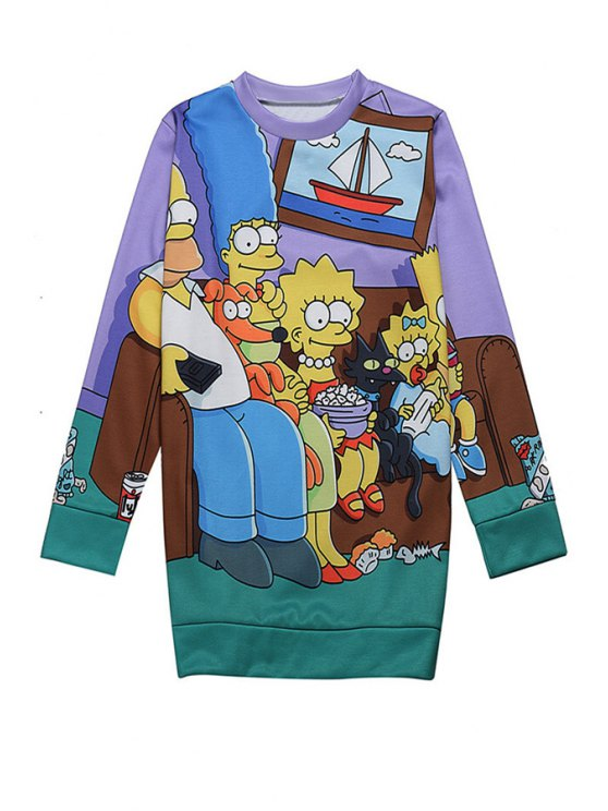 outfit Cartoon Print Long Sleeve Sweatshirt - COLORMIX ONE SIZE(FIT SIZE XS TO M)