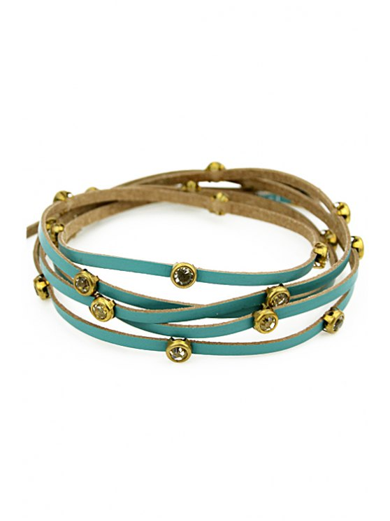 hot Faux Gem Decorated Layered Bracelet - BLUE