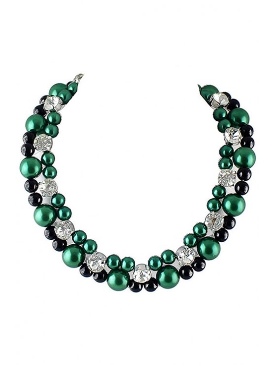 best Beads and Rhinestone Necklace - AS THE PICTURE