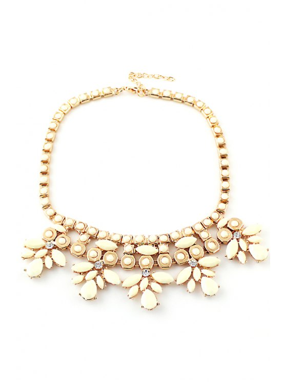 outfits Faux Gem Flower Layered Necklace - WHITE