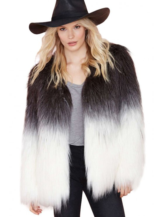 womens Color Block V-Neck Faux Fur Coat - WHITE AND BLACK XS