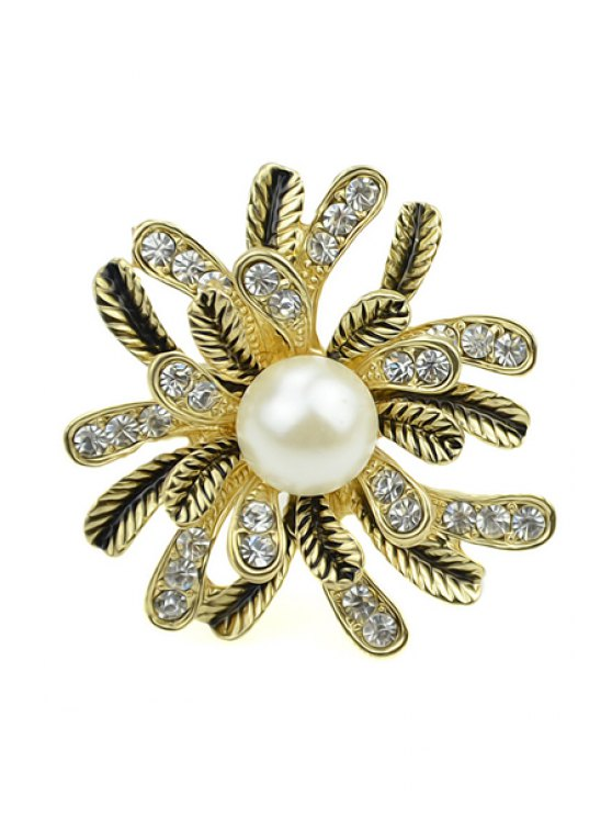 chic Rhinestone and Faux Pearl Ring - GOLDEN ONE-SIZE