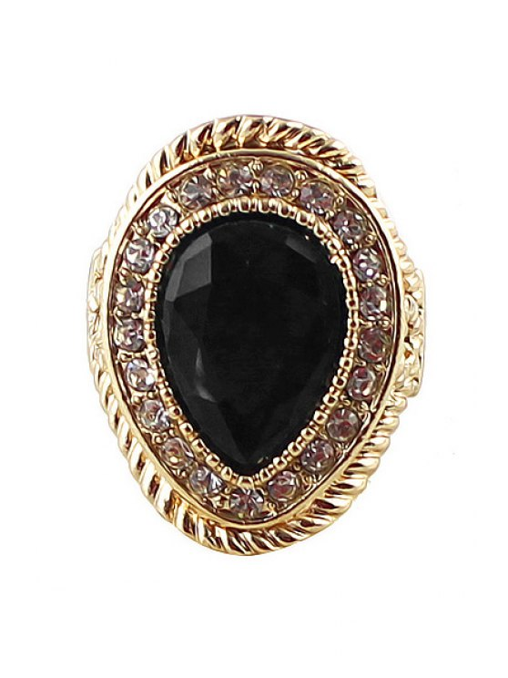 lady Faux Gem Waterdrop Ring - BLACK ONE-SIZE