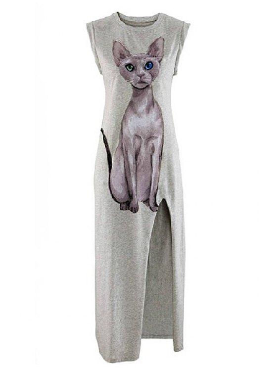 online Kitten Print Sleeveless Side Slit Dress - LIGHT GRAY S