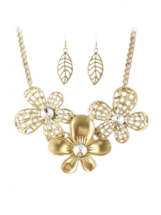women Golden Flower Necklace and A Pair of Earrings - GOLDEN