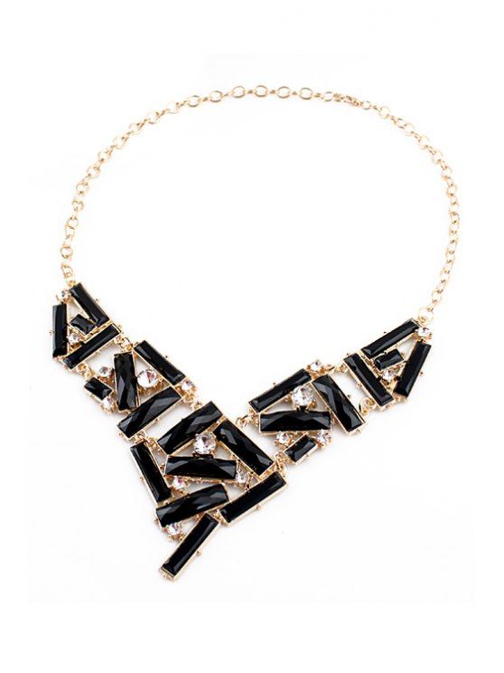 women's Faux Gem Geometric Openwork Necklace - BLACK