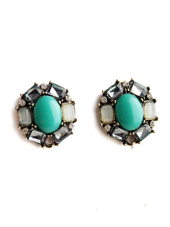 best Pair of Faux Gem Decorated Earrings - AZURE
