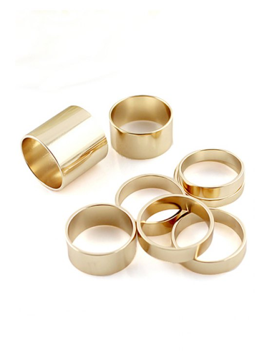 latest 8PCS Solid Color Rings - GOLDEN ONE-SIZE