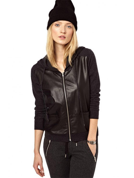 buy PU Leather Splicing Hooded Coat - BLACK XS