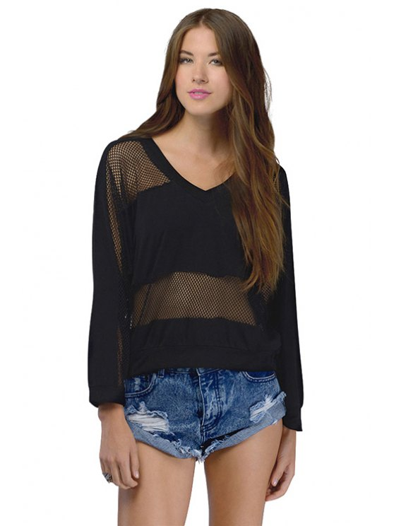 latest Black Mesh Design Sweatshirt - BLACK XS