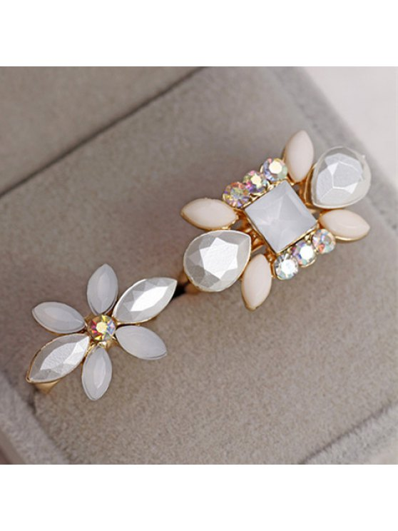 fancy Pair of Chic Women's Rhinestone Flower Rings - COLORMIX ONE SIZE(FIT SIZE XS TO M)