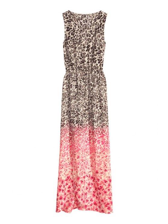 online Leopard Print Sleeveless Maxi Dress - COLORMIX S