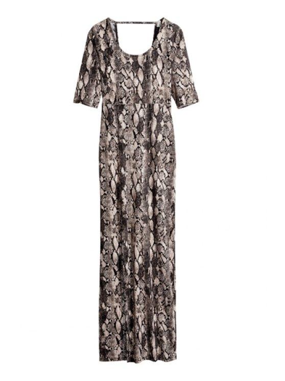 unique Snakeskin Pattern Half Sleeve Dress - BLACK AND GREY S