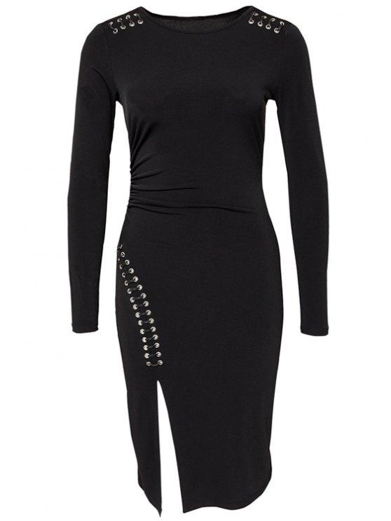 lady Black Side Slit Long Sleeve Dress - BLACK S