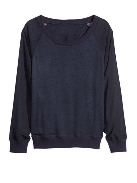 best Voile Splicing 3/4 Sleeve Sweatshirt - BLACK XS