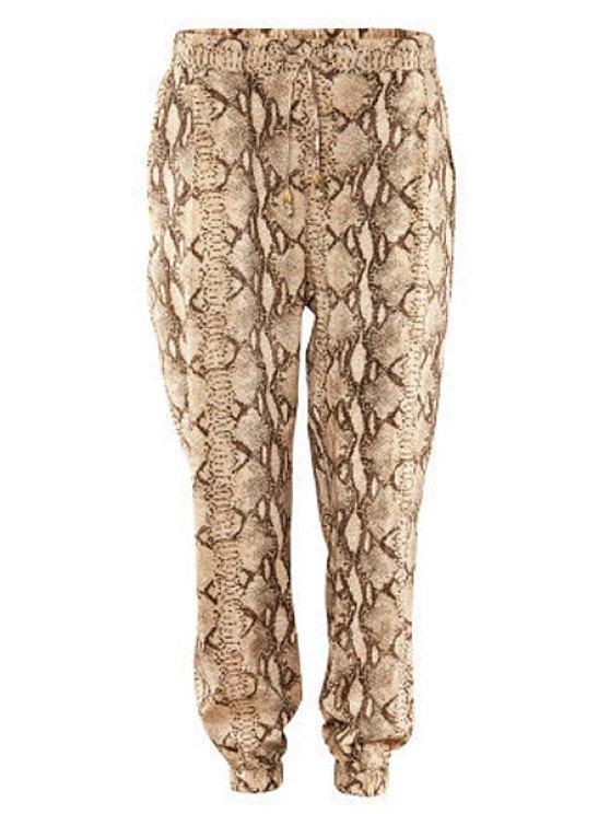 outfit Snakeskin Print Drawstring Pants - BEIGE XS