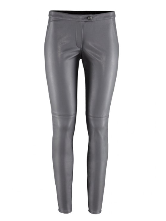 buy Solid Color PU Leather Narrow Feet Pants - GRAY XS