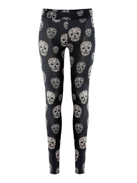 women's Skull Print Narrow Feet Leggings - BLACK XS