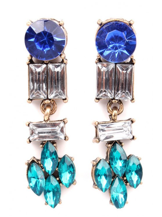 buy Pair of Faux Gem Geometric Pendant Earrings - BLUE