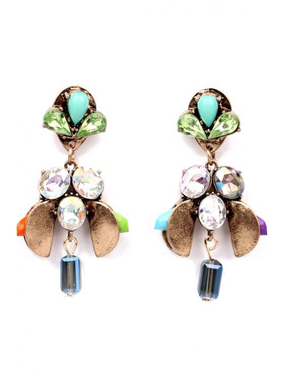ladies Pair of Rhinestone Bee Shape Earrings - AS THE PICTURE
