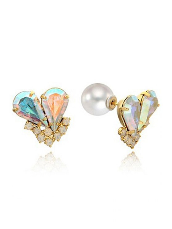 best Pair of Rhinestone Heart Earrings - AS THE PICTURE