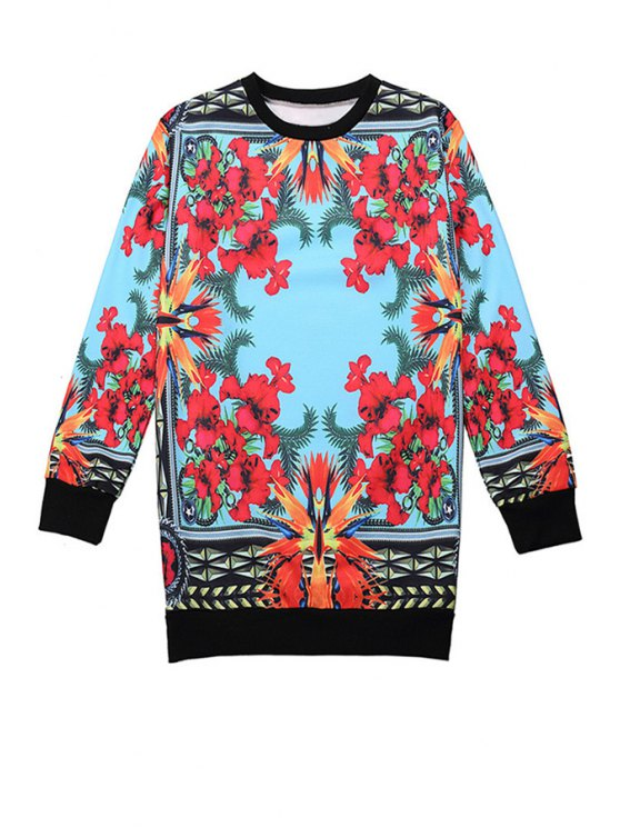 shops Retro Floral Long Sleeve Sweatshirt - COLORMIX ONE SIZE(FIT SIZE XS TO M)