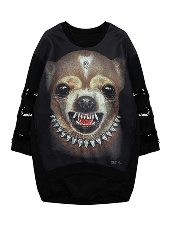 fashion Puppy Print Sequins Splicing Sweatshirt - BLACK ONE SIZE(FIT SIZE XS TO M)