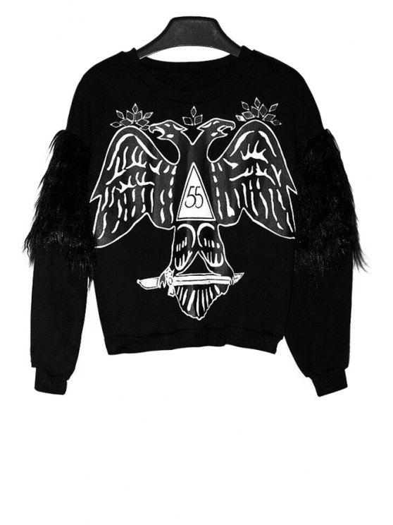 chic Print Faux Fur Splicing Sweatshirt - BLACK ONE SIZE(FIT SIZE XS TO M)