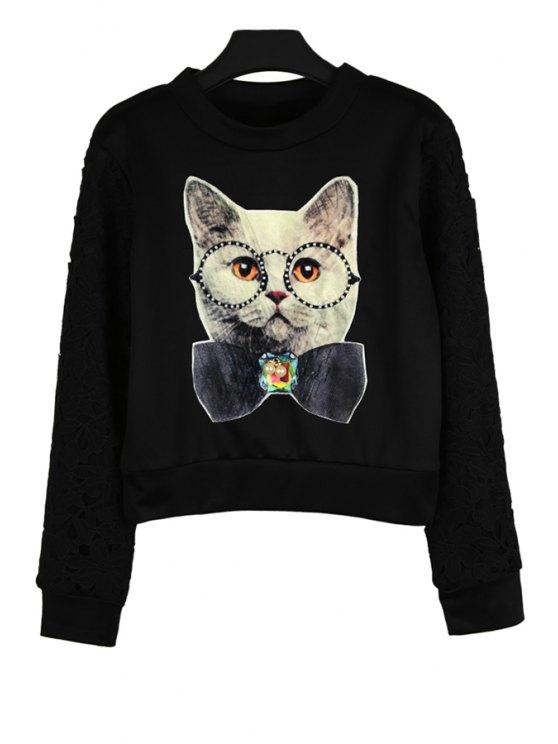 fancy Long Sleeve Kitten Pattern Sweatshirt - BLACK ONE SIZE(FIT SIZE XS TO M)