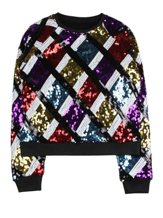 ladies Sequins Argyle Long Sleeve Sweatshirt - COLORMIX ONE SIZE(FIT SIZE XS TO M)