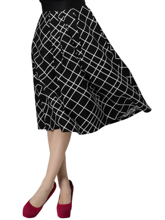 new Checked High Waisted A-Line Skirt - BLACK S