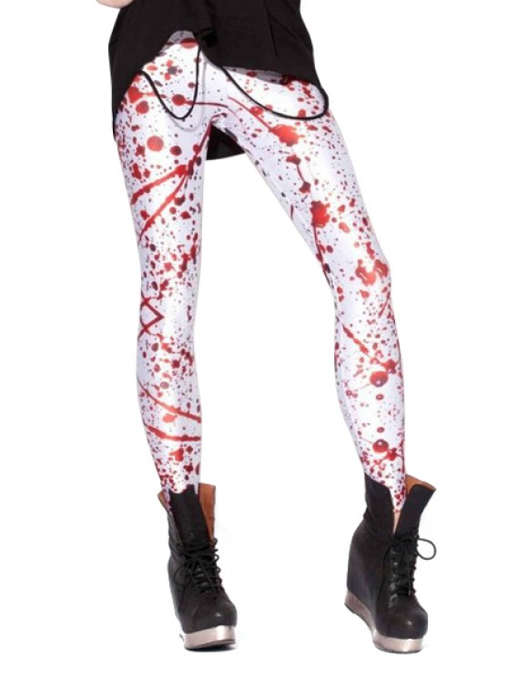 fancy Scrawl Print Narrow Feet Leggings - RED WITH WHITE ONE SIZE(FIT SIZE XS TO M)