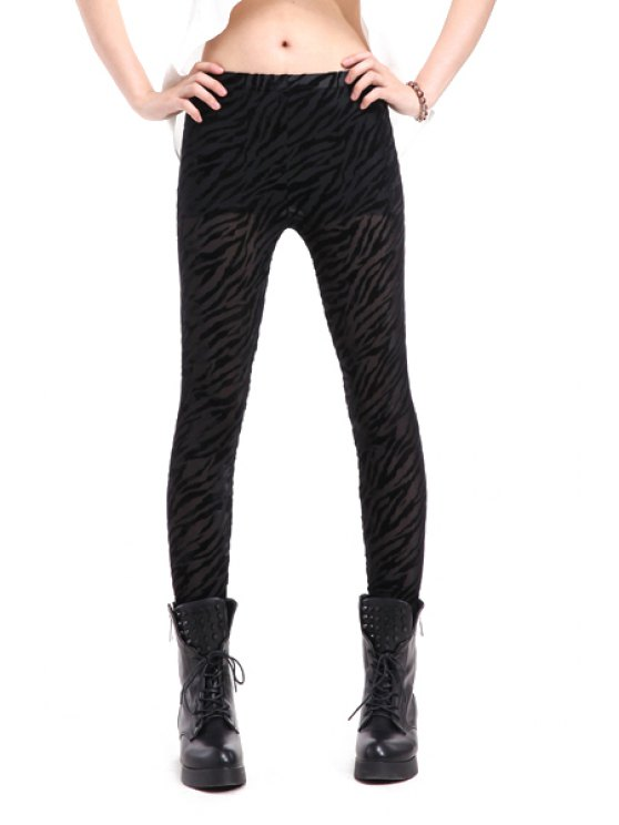 chic Zebra Striped Narrow Feet Leggings - BLACK ONE SIZE(FIT SIZE XS TO M)