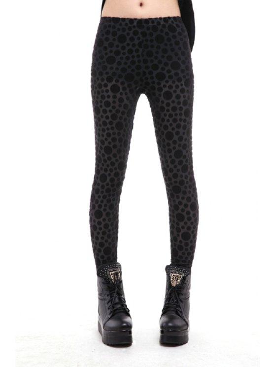unique Polka Dot Pattern Narrow Feet Leggings - BLACK ONE SIZE(FIT SIZE XS TO M)