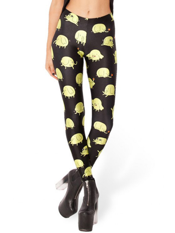 buy Cartoon Print Narrow Feet Leggings - YELLOW AND BLACK ONE SIZE(FIT SIZE XS TO M)