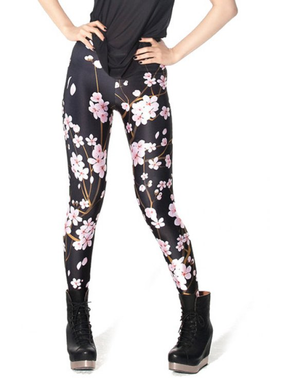 hot Plum Blossom Print Skinny Leggings - BLACK ONE SIZE(FIT SIZE XS TO M)