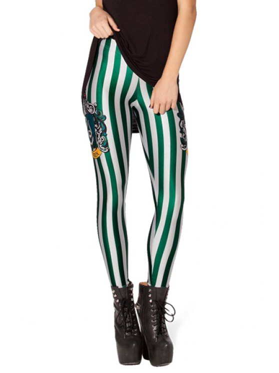 hot Green Striped Skinny Leggings - STRIPE ONE SIZE(FIT SIZE XS TO M)