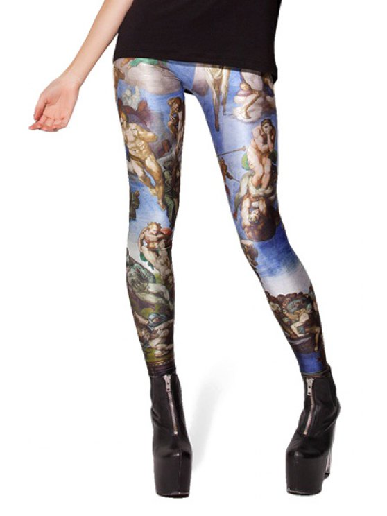 outfit Vintage Figure Print Skinny Leggings - COLORMIX ONE SIZE(FIT SIZE XS TO M)