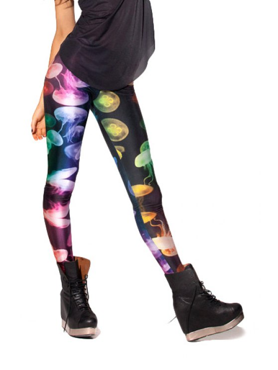 shop Colorful Jellyfish Print Skinny Leggings - COLORMIX ONE SIZE(FIT SIZE XS TO M)