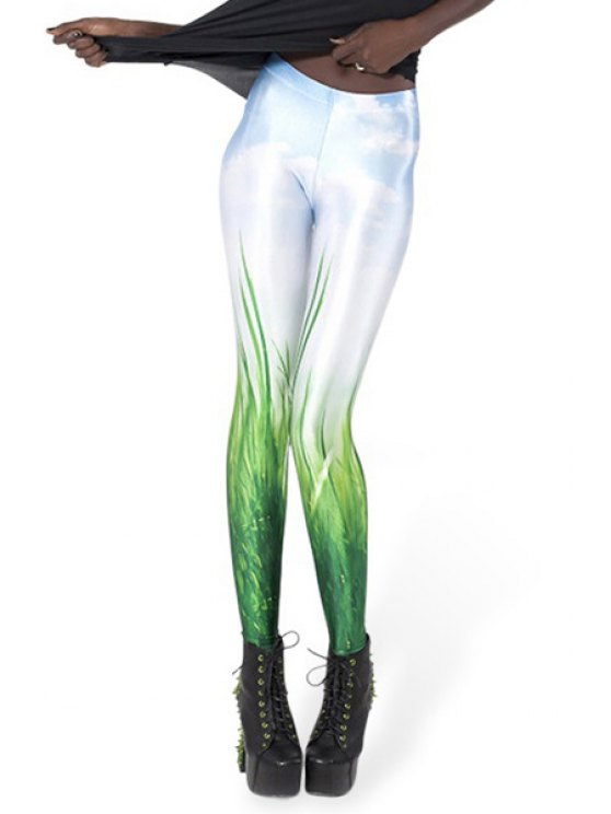 trendy Grass Print Skinny Leggings - WHITE AND GREEN ONE SIZE(FIT SIZE XS TO M)