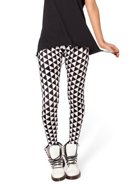 unique Argyle Pattern Skinny Leggings - WHITE AND BLACK ONE SIZE(FIT SIZE XS TO M)