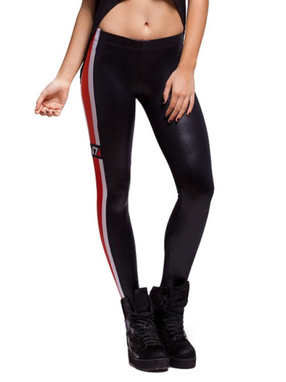 sale Color Block Skinny Leggings - BLACK ONE SIZE(FIT SIZE XS TO M)
