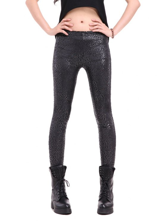 outfit Black Print Skinny Leggings - BLACK ONE SIZE(FIT SIZE XS TO M)