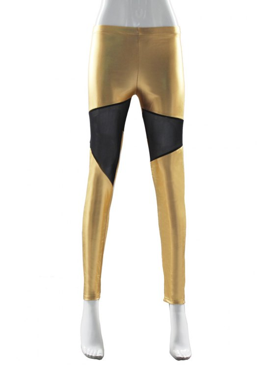 unique Faux Leather Splicing Skinny Leggings - GOLDEN ONE SIZE(FIT SIZE XS TO M)