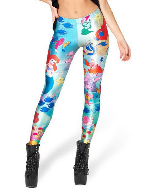 ladies Cartoon Mermaid Print Leggings - COLORMIX ONE SIZE(FIT SIZE XS TO M)
