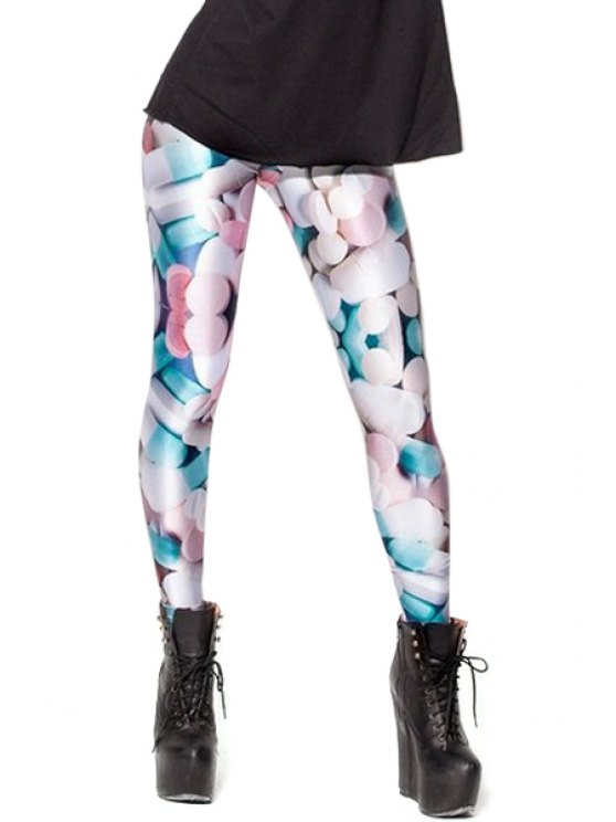 hot Medicine Print Skinny Leggings - COLORMIX ONE SIZE(FIT SIZE XS TO M)