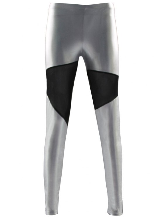shops Color Block Splicing Skinny Leggings - SILVER ONE SIZE(FIT SIZE XS TO M)