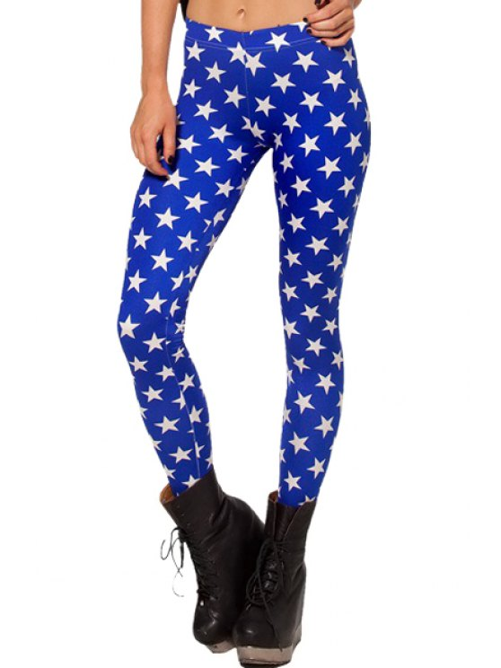 online Full Star Print Skinny Leggings - SAPPHIRE BLUE ONE SIZE(FIT SIZE XS TO M)