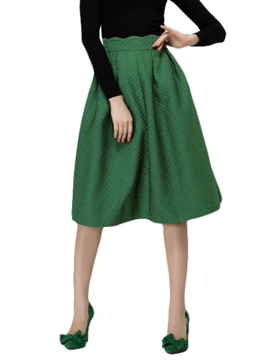affordable Argyle Solid Color A-Line Skirt - GREEN S